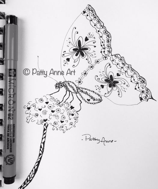 Butterfly doodle sketch in ink