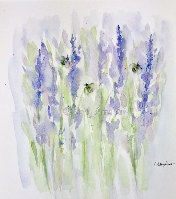 Lavender and bees watercolor