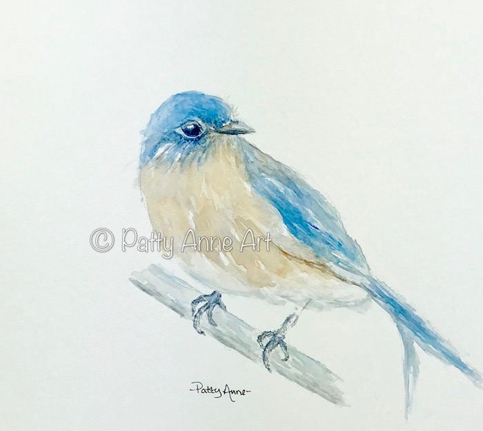 Bluebird watercolor painting