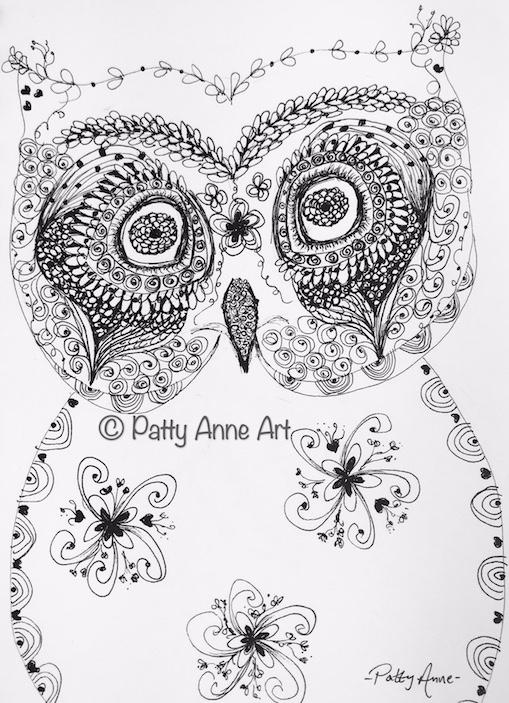 Owl doodle sketch in ink