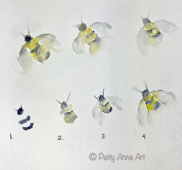 Step by step watercolor bees