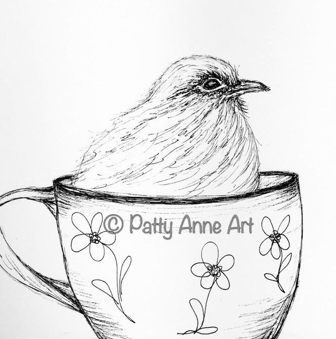 Birdie in a cup ink sketch