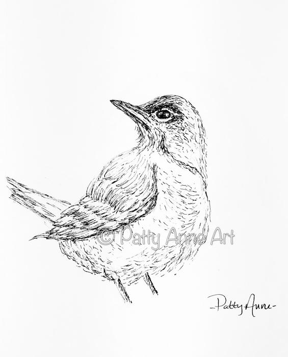 Birdie ink sketch