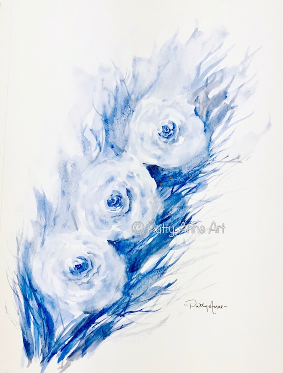 Roses watercolor painting