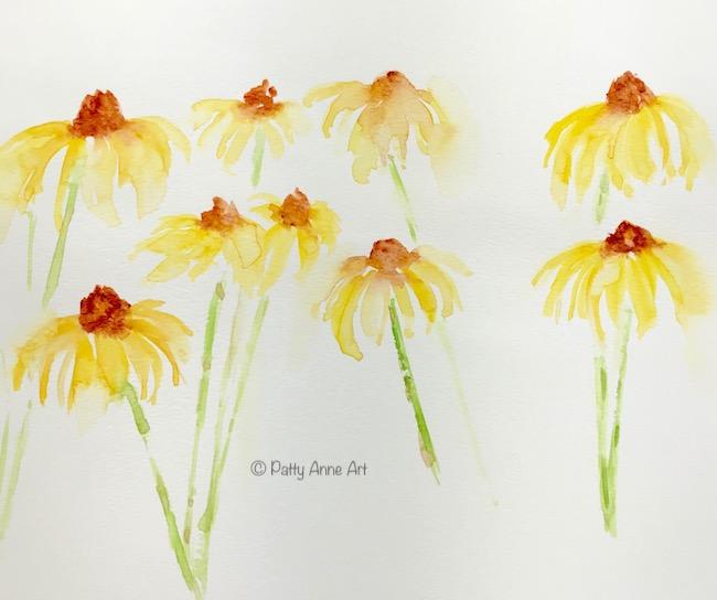 watercolor flower practice