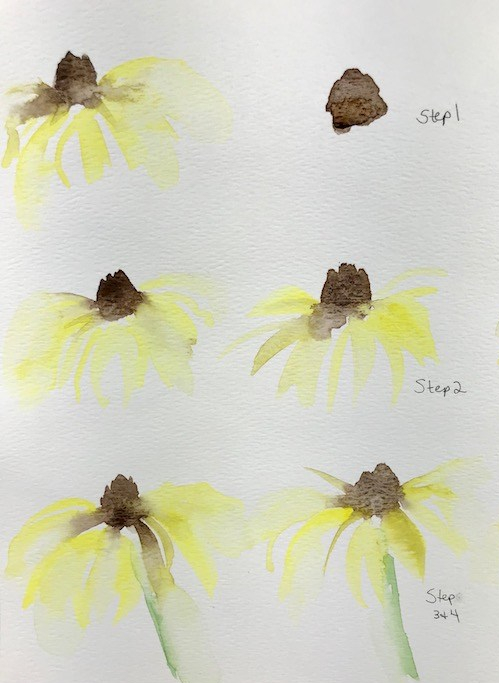 watercolor flower- painting steps