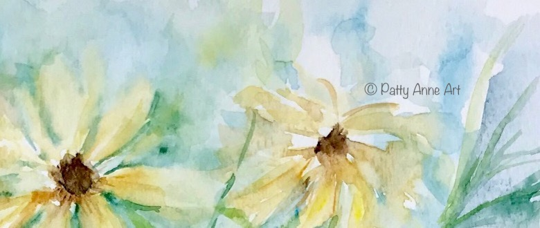 Black-eyed Susans watercolor flowers