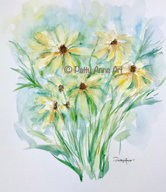 Black-eyed Susan watercolor painting