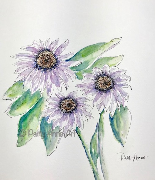Purple flowers ink and watercolor