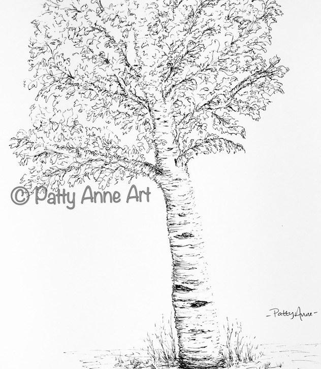 Ink tree sketch