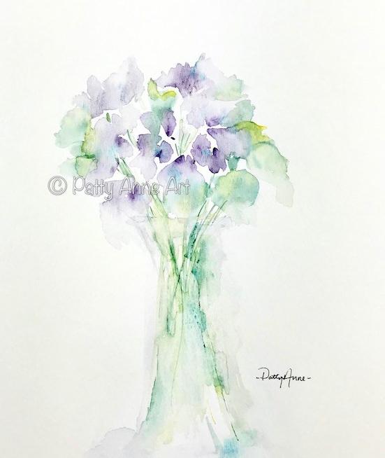 Soft violet watercolor flowers