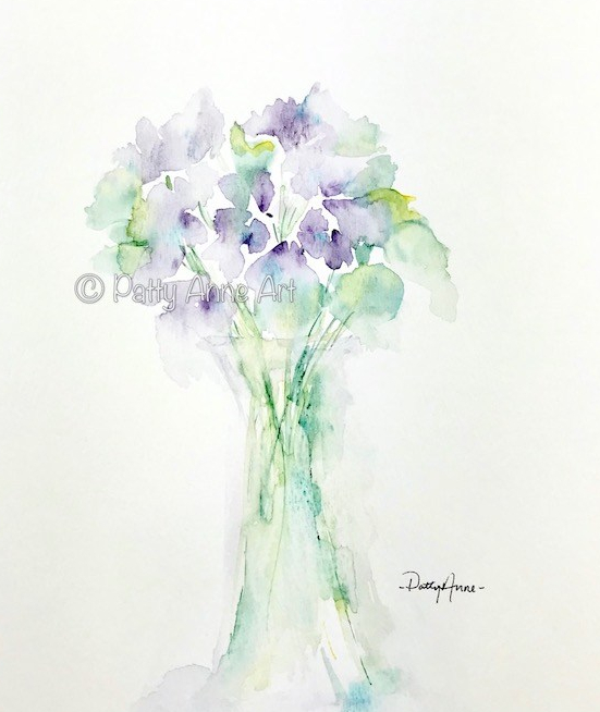 Soft violet watercolor flowers