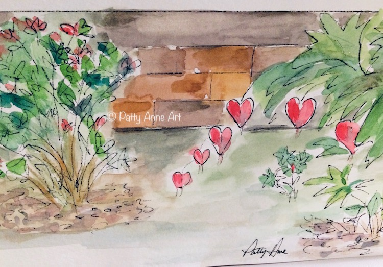 bleeding heart watercolor and ink