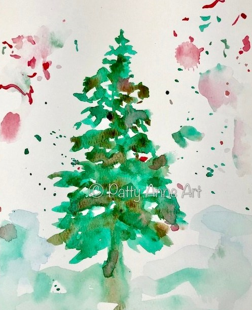 Christmas pine watercolor