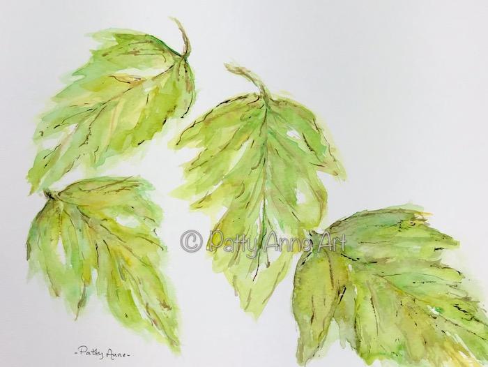falling leaves watercolor