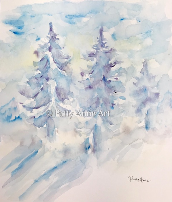 abstract watercolor pines
