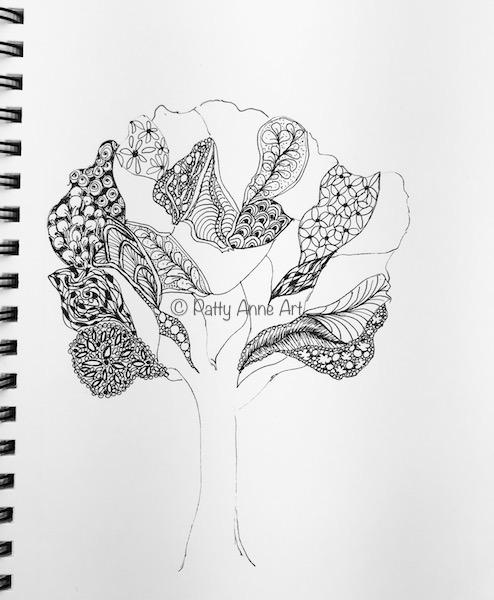 tree ink doodle step 2