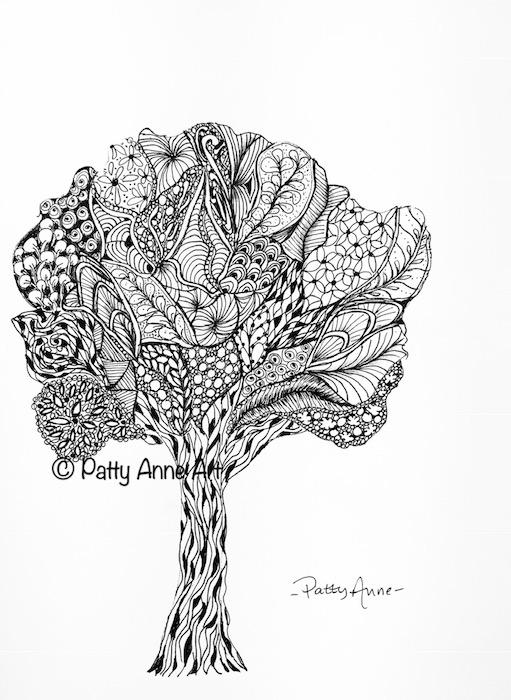 ink tree - zen doodle