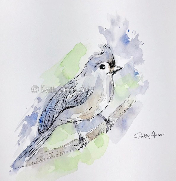 Tufted Titmouse watercolor and ink