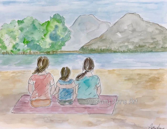 family time watercolor and ink sketch