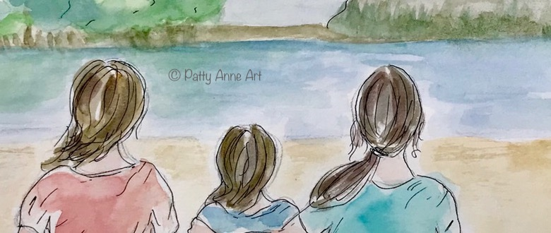 at the lake watercolor and ink sketch