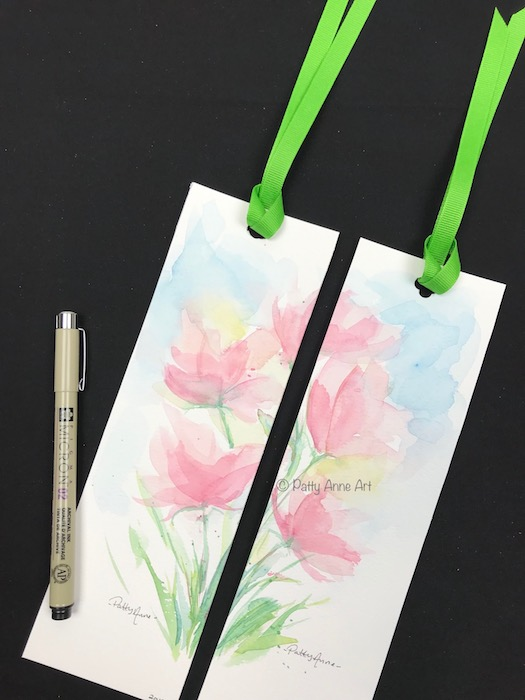watercolor flowers bookmarks