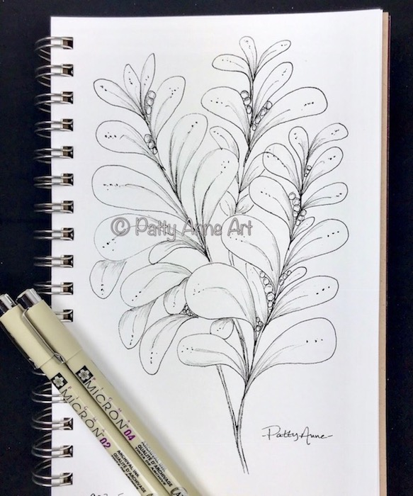 branch and leaves sketchy doodle