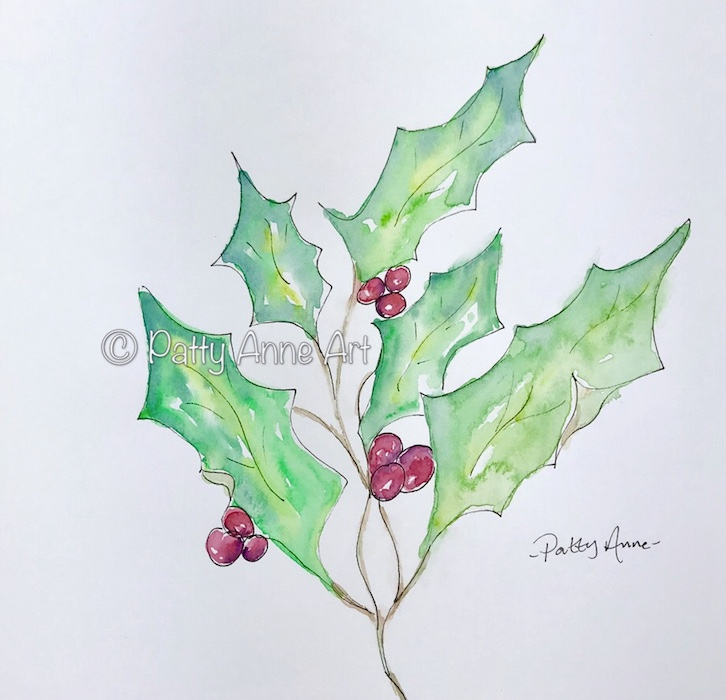 Holly and berries watercolor and ink