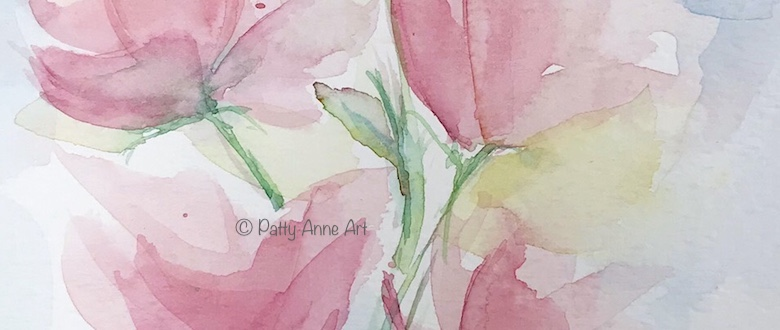 watercolor flowers painting for bookmarks