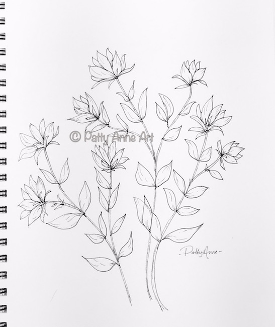 flowers and vines ink sketch