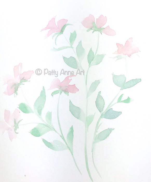 pink flowers and vines first wash
