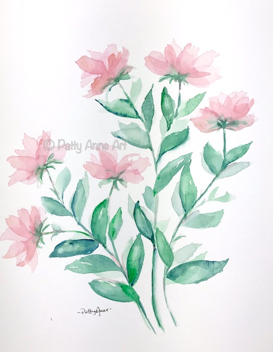 pink flowers and vines watercolor
