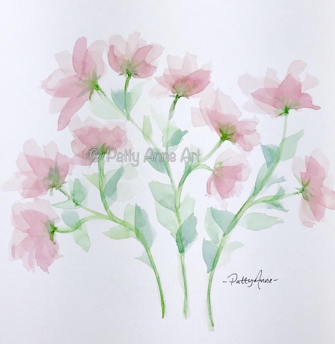 transparent pink watercolor flowers