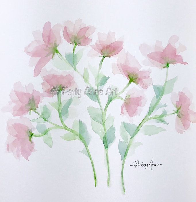 transparent pink watercolor flowers