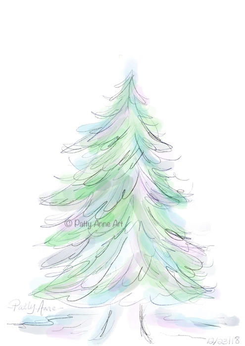 Winter pine - digital art