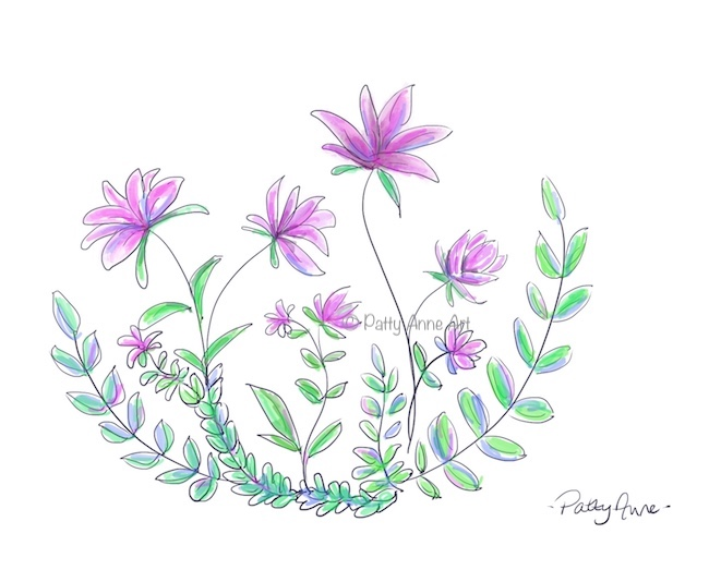 purple posies - digital art