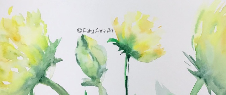 sunny flowers watercolor