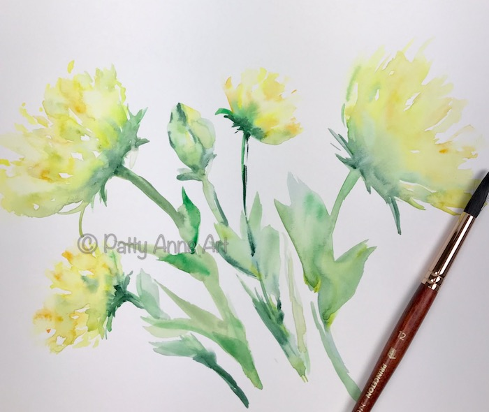 sunny flowers watercolor painting