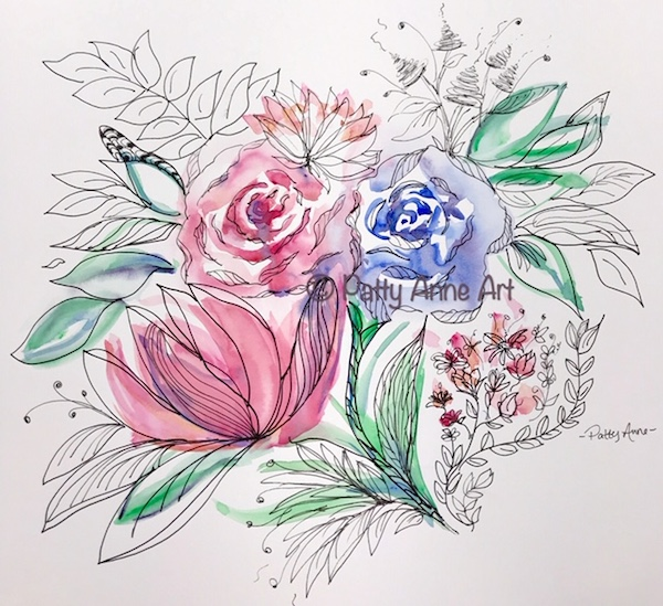floral ink and watercolor painting