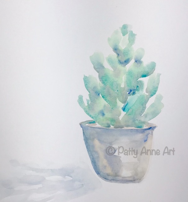 little cactus watercolor painting