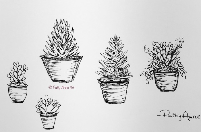 little plants - ink sketching