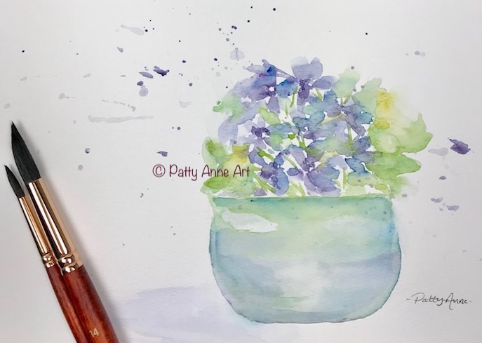 little violets watercolor painting