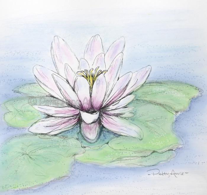 pink waterlily digital painting