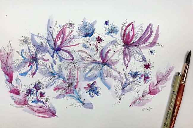 watercolor and ink flowers