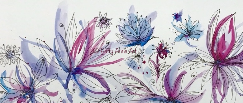 Watercolor and ink florals