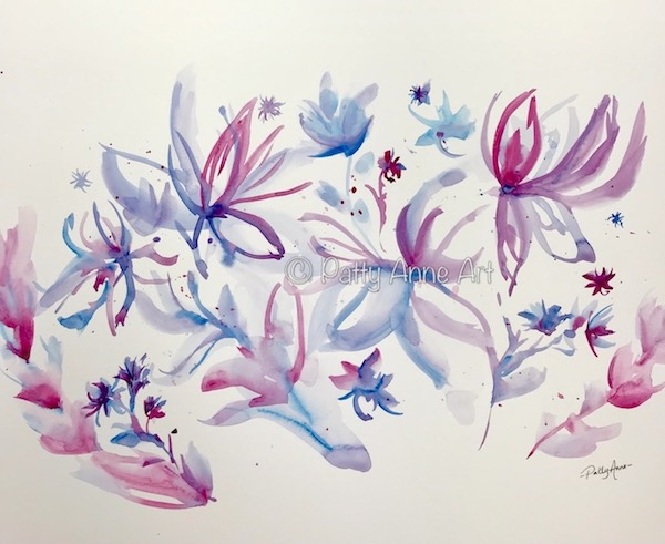 watercolor flowers underpainting