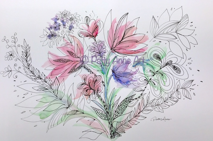 floral ink and watercolor