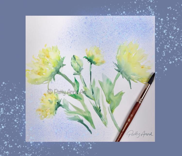 watercolor flowers -digital background