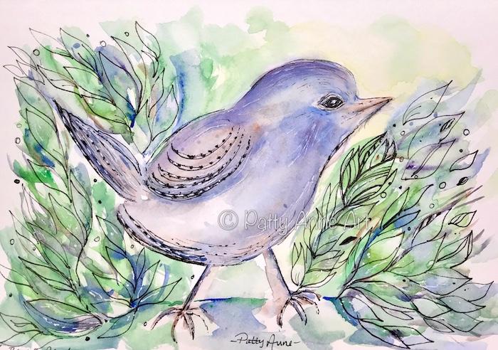 watercolor and ink birdie