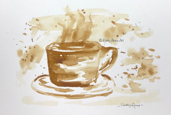 Cup of coffee painted with coffee